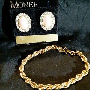 Monet earrings and bracelet